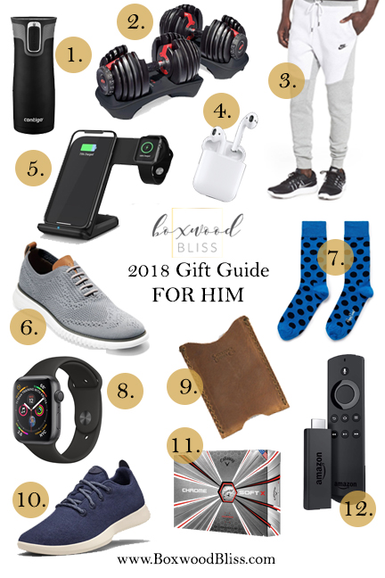 68710ac1c 1. Travel Coffee Mug // 2. Adjustable Dumbbells // 3. Nike Joggers // 4.  Ear buds // 5. Wireless iPhone and Apple Watch Charger // 6. Cole Haan  Shoes // 7.