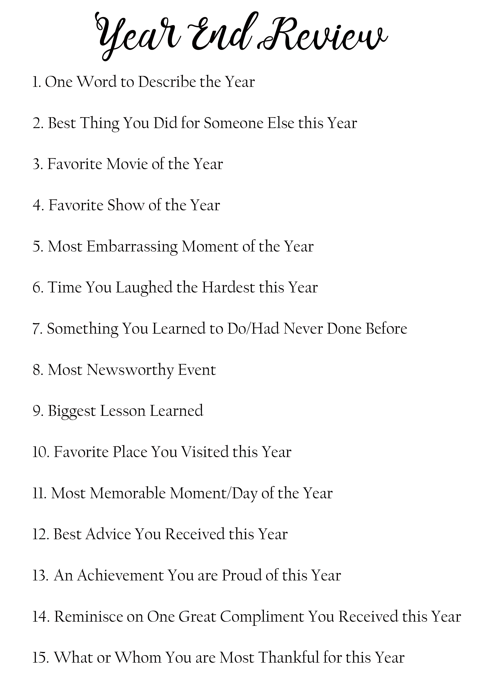New Year: 15 Questions Year End Review